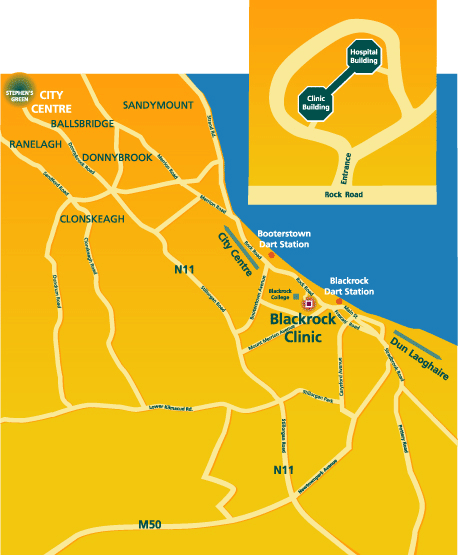 Map to Blackrock Clinic