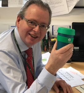 James O'Donoghue, Blackrock Clinic CEO with Keep Cup to mark Blackrock Clinic Goes Green campaign