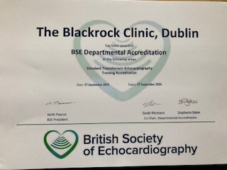 Echo Department Accreditation Certificate - Blackrock Clinic